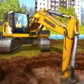 挖掘机和铲斗模拟