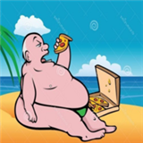 大胖子吃披萨